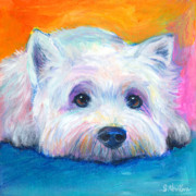Pet Portrait Drawings Framed Prints - West Highland Terrier dog painting Framed Print by Svetlana Novikova