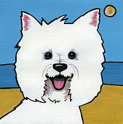 Smiling Painting Posters - West Highland Terrier Poster by Leanne Wilkes