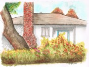 Acuarelas Paintings - West-Hollywood-house-with-chimney-CA by Carlos G Groppa