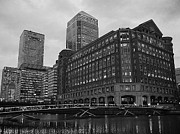 India Pyrography Metal Prints - West India Quay Black and White Metal Print by Sean Foreman