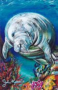 John Keaton Mixed Media Framed Prints - West Indian Manatee Framed Print by John Keaton