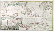 Moll Posters - West Indies Map, 1715 Poster by Granger