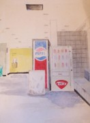 Pepsi Painting Prints - West Iredell High Commons Area 1981 Print by Randy Edwards