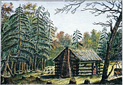Log Cabin Prints - West: Log Cabin, 1826 Print by Granger