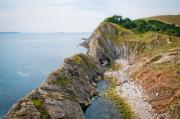 West Lulworth Lagoon The Natural Lagoon Behind The Jurassic Cliffs West Of Lulworth Cove Dorset Print by Andy Smy