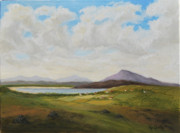 Turf Paintings - West of Ireland Landscape with Turf Stacks by Geraldine Leahy