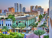 Roadway Framed Prints - West Palm at Twilight Framed Print by Debra and Dave Vanderlaan