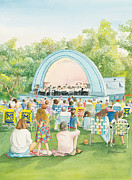 Crowds Paintings - West Park Band Shell Ann Arbor Michigan by Katherine Larson