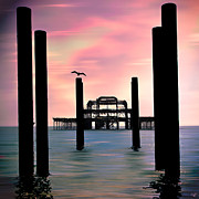 Surf Silhouette Posters - West Pier Silhouette Poster by Chris Lord