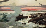 Red Sky Metal Prints - West Point Prouts Neck Metal Print by Winslow Homer