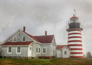 Maine Lighthouses Posters - West Quoddy Head Lighthouse Poster by Lori Deiter