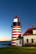 Maine Lighthouses Photo Posters - West Quoddy Head Lighthouse Maine Poster by John Greim