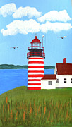 New England Lighthouse Paintings - West Quoddy Head Lighthouse painting by Frederic Kohli