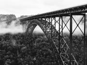 Fog Metal Prints - West Virginia - New River Gorge Bridge Metal Print by Brendan Reals