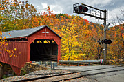 Fall Photos Prints - West Virginia Covered Bridge - Carrollton Print by Kathleen K Parker