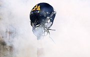 Sports Logo Framed Prints - West Virginia Helmet Framed Print by Getty Images