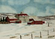 Winter Scene Painting Originals - West Winfield Farm by Charlotte Blanchard
