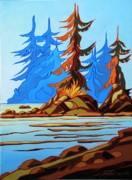 Spirit Trees Painting Metal Prints - Westcoast Morning Metal Print by Santo De Vita