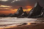 Beach Sunsets Photo Posters - Westcombe Bay Poster by Richard Garvey-Williams