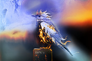 Rateitart Posters - Western Bluebird Fire and Ice Poster by James Ahn