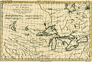 Vintage Map Drawings - Western Canada and the Five Great Lakes by Guillaume Raynal