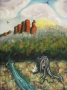 Bunny Paintings - Western Desert with Rabbit by Suzanne  Marie Leclair