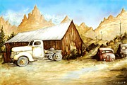 American City Drawings Prints - Western Ghost Town Print by Peter Art Prints Posters Gallery
