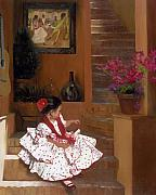 Children Painting Acrylic Prints - Western Grace of Good Cheer    Mexico    from The Three Graces of the West Acrylic Print by Anna Bain