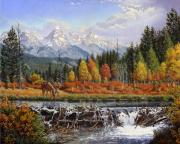 Fall Panorama Paintings - Western Mountain Landscape Autumn Mountain Man Trapper Beaver Dam Americana Oil Painting orange  by Walt Curlee