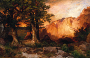 Thomas Moran Framed Prints - Western Sunset Framed Print by Thomas Moran