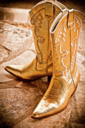 Gold Lame Prints - Western Wear Print by Jill Smith