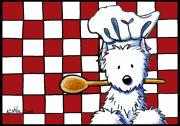 Italian Restaurant Mixed Media Prints - Westie Chef Print by Kim Niles