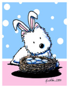 Easter Mixed Media Posters - Westie Easter Rabbit Poster by Kim Niles