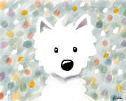 Kim Niles Digital Art - Westie Floral Impression by Kim Niles