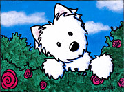 Westie Terrier Framed Prints - Westie In Roses Framed Print by Kim Niles