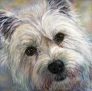 Close Up Painting Metal Prints - Westie Metal Print by Linnell Esler