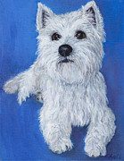 Ultramarine Framed Prints - Westie on Blue Framed Print by Robin Wiesneth