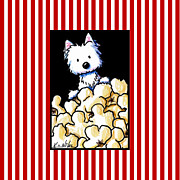 Terrier Digital Art - Westie Popcorn Lover by Kim Niles