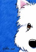 White Terrier Art - Westie Up Close by Kim Niles