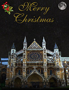 Kate Middleton Mixed Media Framed Prints - Westminster Abbey Merry Christmas Framed Print by Eric Kempson