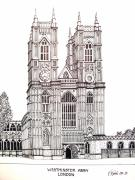 Famous Buildings Drawings Prints - Westminster Abby - London Print by Frederic Kohli
