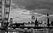 Grey Framed Prints - Westminster black and white Framed Print by Dawn OConnor