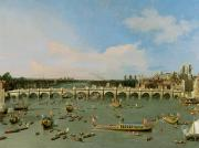 Houses Of Parliament Framed Prints - Westminster Bridge - London Framed Print by Giovanni Antonio Canaletto