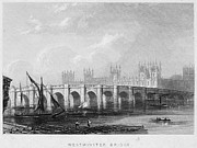 River Transportation Framed Prints - Westminster Bridge, 1852 Framed Print by Granger