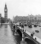 Carriages Posters - Westminster Bridge and Clock Tower in London - England - c 1926 Poster by International  Images