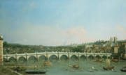 Architecture Paintings - Westminster Bridge from the North with Lambeth Palace in distance by Canaletto 