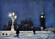 London Painting Originals - Westminster Bridge London by Bill Brauker