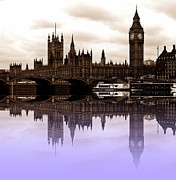 London Skyline Digital Art Prints - Westminster lilac Print by Sharon Lisa Clarke