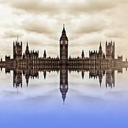 Purple Print Framed Prints - Westminster on Water Framed Print by Sharon Lisa Clarke