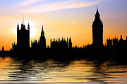 Flood Prints - Westminster Silhouette Print by Phil Clements
